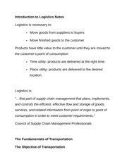 Introduction to Logistics Notes