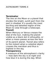ASTRONOMY TERMS 4