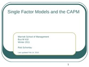 09- Single Factor Model and CAPM