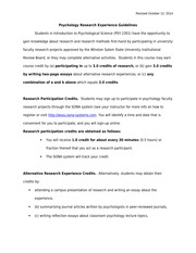2301 Research Experience Guidelines Fall 2014
