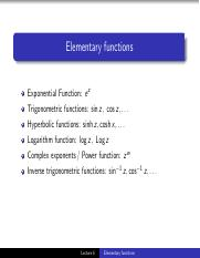 Elementary functions notes