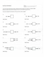 Net Force Worksheet Pdf