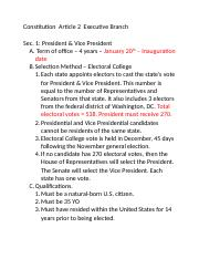 Constitution  Article 2  Executive Branch Notes.docx