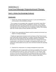 BSBINN601  - Lead And Manage Organizational Change Task 3 (Written Test)  .docx