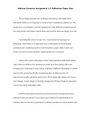 Melissa Cameron - Reflection Paper - Assignment 1-3.docx