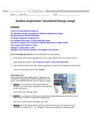 House Hold Energy Gizmo.doc - Name Date Student ...