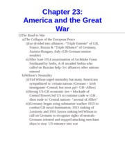 Chapter 23- America and the Great War