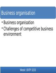 LECTURE 1 BUSINESS ORGANISATION (1)