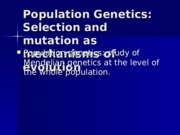 Chapter 6 2012 HW Selection and mutation