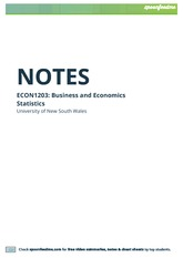 ECON1203 Business and Economic Statistics Notes