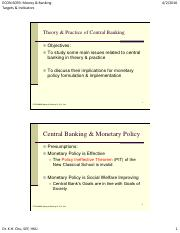Central Banking Targets and Indicators