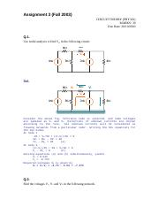 Circuit Theory - PHY301 Fall 2003 Assignment 03 Solution
