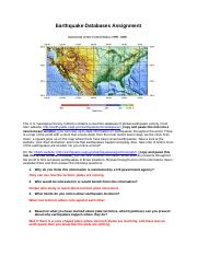 Earthquake Databases Assignment