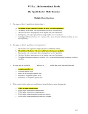 06 Specific Factors Model Exercise ANSWERS