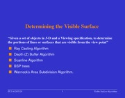 Lecture Notes on Determining the Visible Surface