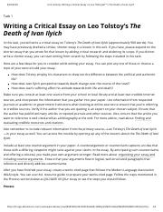 Unit Activity Short Storie And Novel Pdf Writing A Critical Essay On Leo Tolstoy The Death Of Ivan Ilyich Task 1 Course Hero