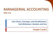 Chapter 2 & 6 - Cost behaviour and classification