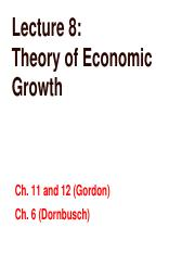 Lecture 8 Theory of Economic Growth(1)