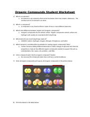 Organic Compounds Student Worksheet