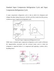 Standard Vapor Compression Refrigeration Cycle and Vapor Compression Refrigeration Cycle