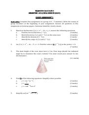 SQQM2034 CALCULUS II A151 Group Assignment 1