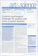 Common psychological challenges for patients with newly acquired disability