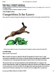 Competition Is for Losers - WSJ