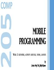 Mobile Programming, Part 2