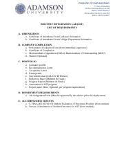 OJT - List of Requirements