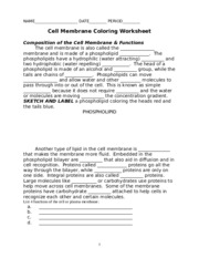Printables Cell Membrane Coloring Worksheet cell membrane coloring worksheet name key date 5 pages worksheet