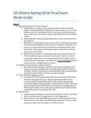 US History Spring 1016 Final Exam Study Guide.docx