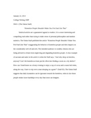 College Writing- Short Writing Response #5