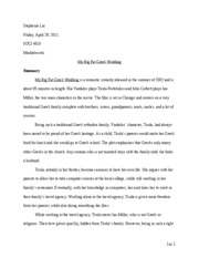 mybigfatgreekwedding my big fat greek wedding movie reflection  8 pages my big fat greek wedding