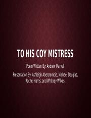 To His Coy Mistress poetry project.pptx