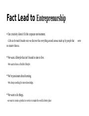 Fact Lead to Entreprenurship