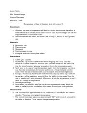 AR- Honors Chemistry—Temperature v. Rate of Reaction—Unit 10 Portfolio Activity.docx