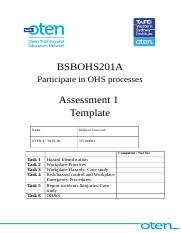 BSBOHS201A- OHS Assessment.doc