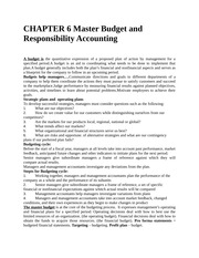 CHAPTER 6 Master Budget and Responsibility Accounting