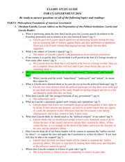 US Govt Study Guide Exam 1