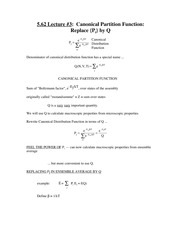 Chem 5.62 Canonical Partition Function Notes