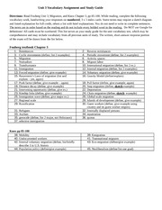 Unit 3 Vocabulary Assignment and Study Guide