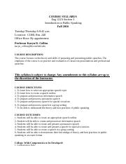 Syllabus - Introduction to Public Speaking ENG 122A - Fall 2016 8 a.m..docx