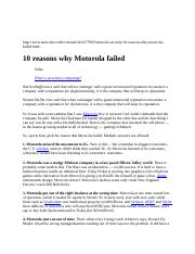 10 reasons motorolla failed