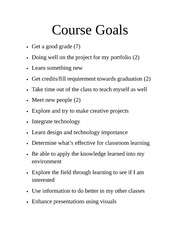 Course goals student