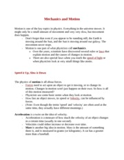 Mechanics and Motion Notes