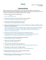 Study guide unit 2 - Answer Key Photosynthesis Worksheet BIO ...
