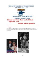 Political Science 2305 Notes for First Test on Political Opinion and Public Participation Summer Ses