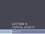 Lecture 9 Capital Assets