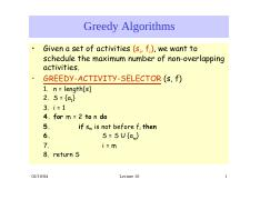 lecture 9 on Analysis of Algorithms