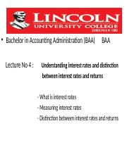 Lincoln Uni Lecture 4 -Understanding interest rates and distinction bet int rates and returns
